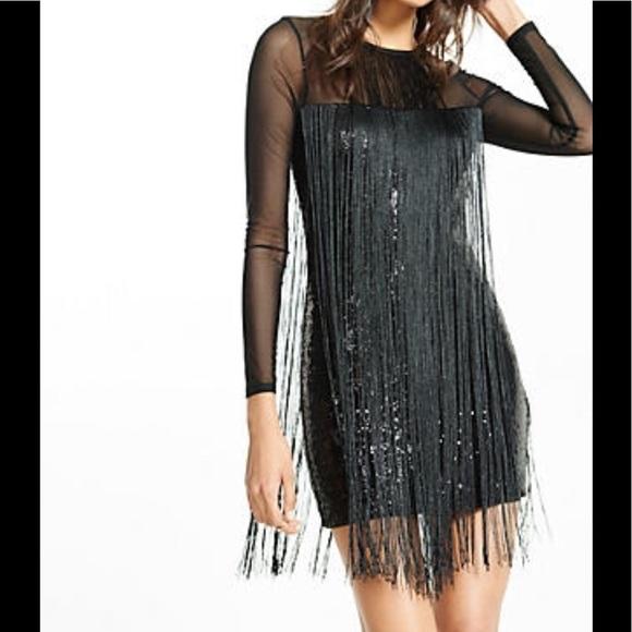 02ffdcffec69 Express Dresses | Black Sequin Fringe Long Sleeve Dress | Poshmark